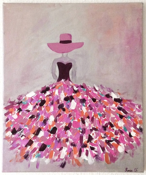 TABLEAU PEINTURE  Femme robe colore romantique