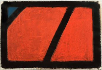 Bernd Hahn // rot - blaues Dreieck Acryl 2004