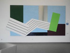 """Transformer"", 2012/13, 216 x 430 cm, Edelstahl, Ölmalerei, AVR Sinsheim"