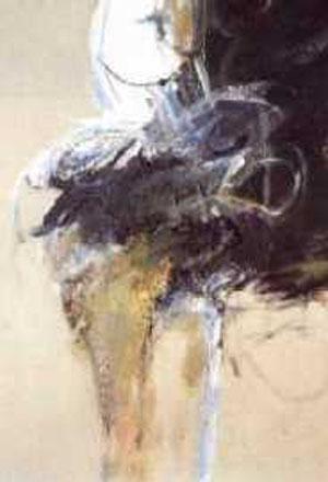 Ohne Titel (Körper), Acryl / Materialien auf grauem Papier, 70 cm x 50 cm, 1994