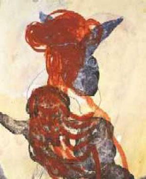 """""""Annäherung 1"""", Mischtechnik auf Leinwand, 65 cm x 55 cm, 1999"""