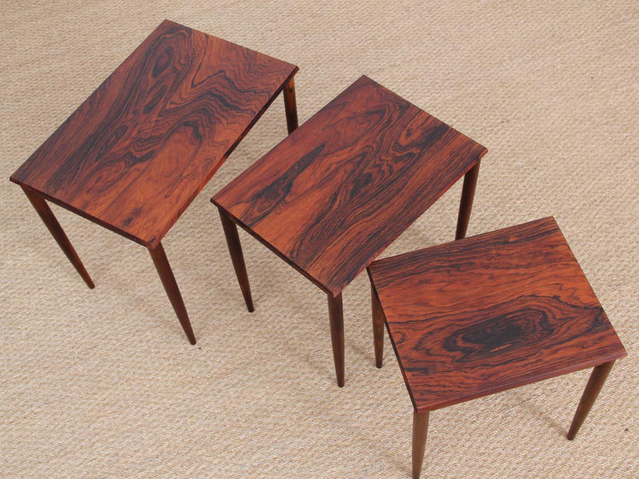 Mid Century Modern Danish Nesting Tables In Rio Rosewood Galerie Mbler