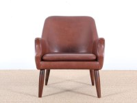 Mid-Century modern scandinavian lounge chair in cognac ...