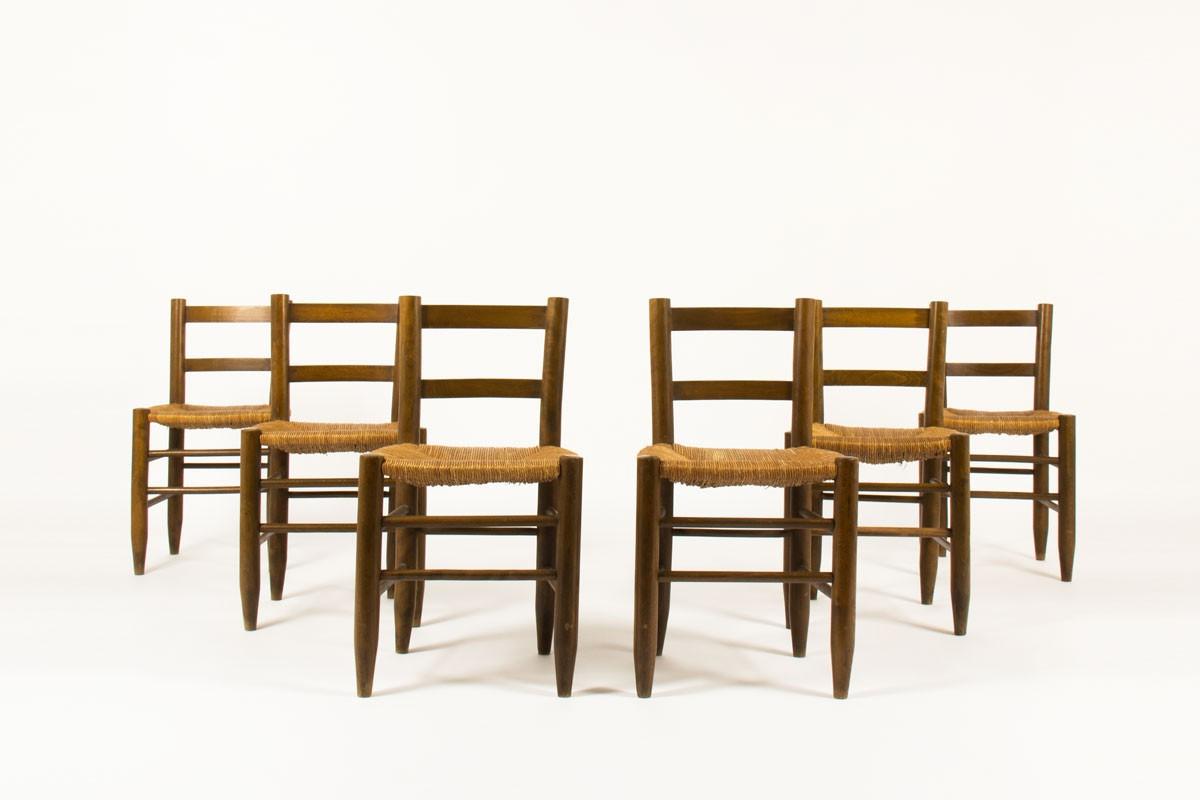 set de chaises en bois et paille dans le gout des creations de charlotte perriand