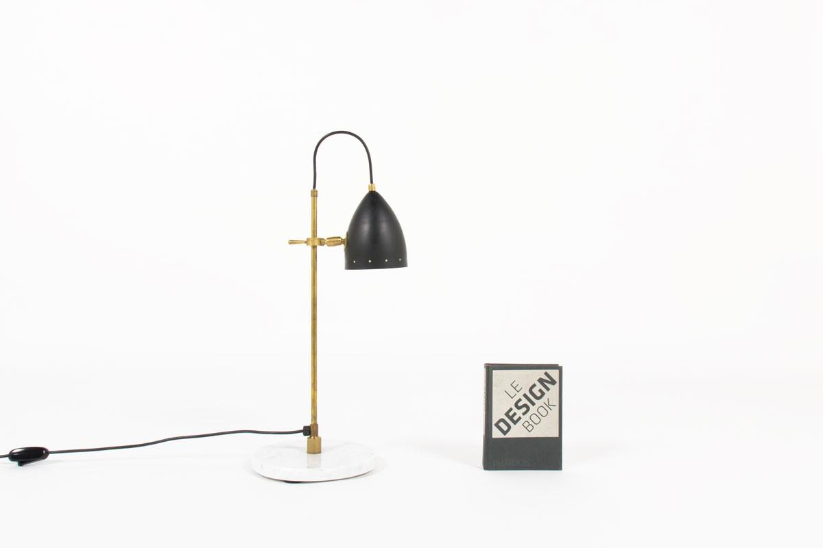lampe de bureau marbre laiton patine et reflecteur noir design contemporain italien