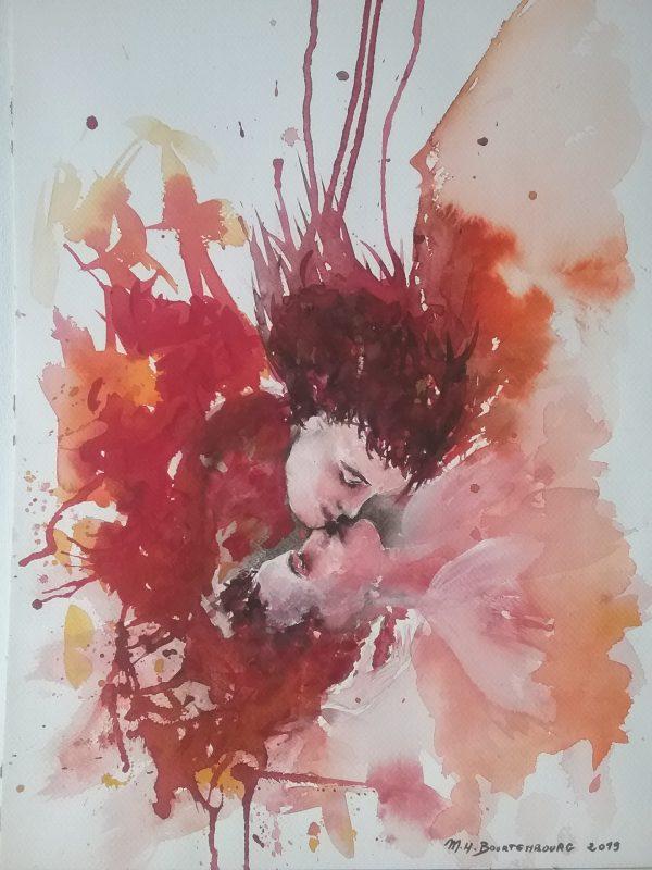 Le Baiser interdit désormais, peinture de Marie-Hélène Bourtembourg