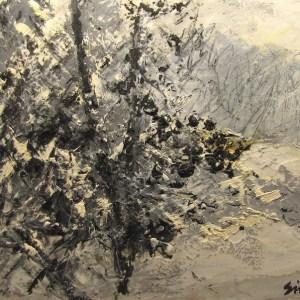 Forêt enneigée, peinture de Simon C.