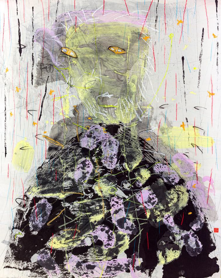 Christophe Tissot 2016 Série Yo Nosotros - Encres, craies, tempera sur papier d'extrême orient 1,40 x 1,12 m