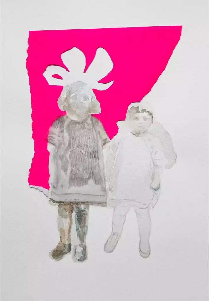 Ask for answers, 2017 - aquarelle, crayon de papier, papier calque, papier fluo 30x40