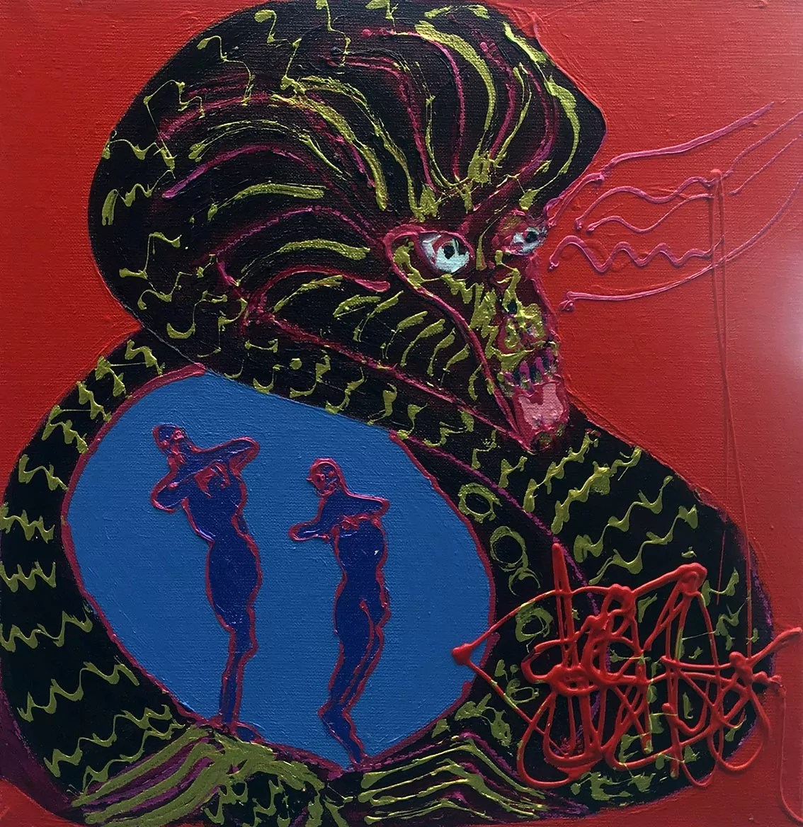 Avant la rencontre Isa Sator 40 x 40 Acrylique sur toile