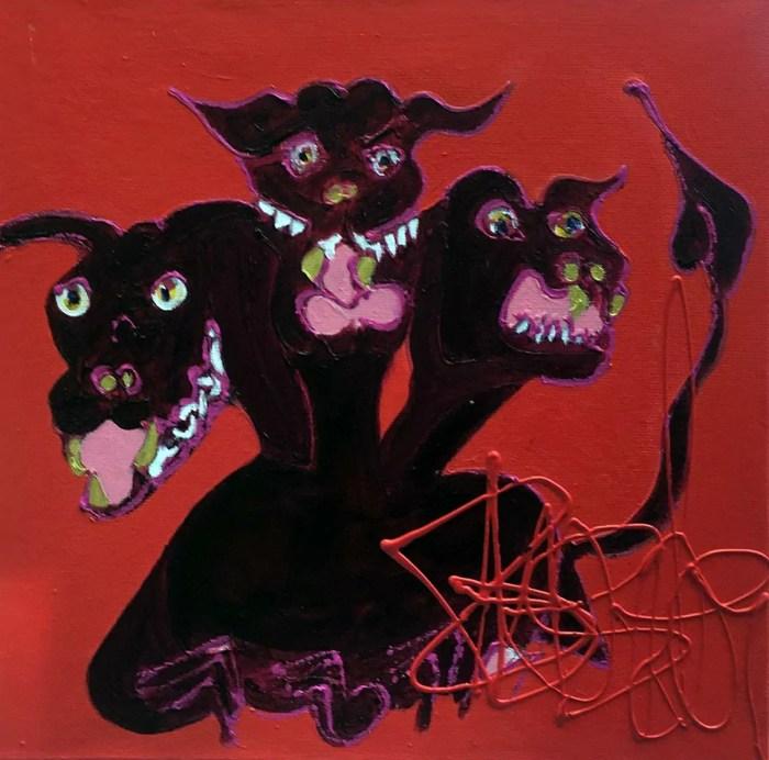 Les gardiennes de l'enfer 40 x 40 Acrylique sur toile