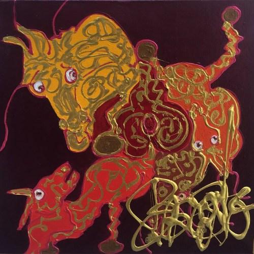 Manège enchanté des rencontres Isa Sator 40 x 40 Acrylique sur toile