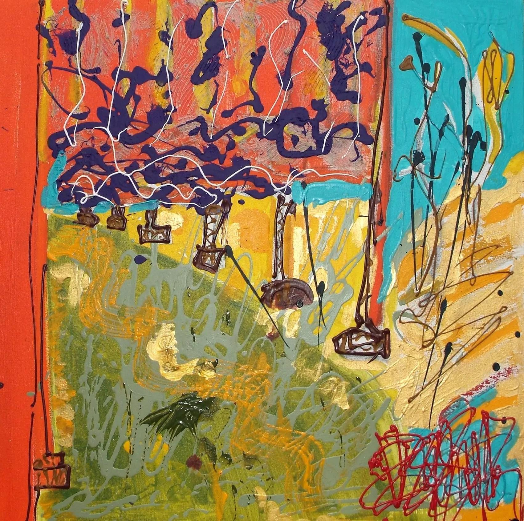 Une orange à Central Park Triptyque 60 x 60 Acrylique sur toile