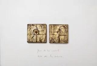 FLEUR DE TON NOMBRIL technique mixte: deux blocs de bois sur carton, gravage acrylique, texte 40 X 27 cm
