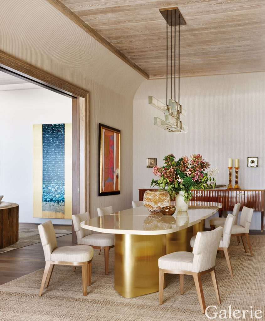 hight resolution of the dining room s custom made mark h luedeman table is paired with philippe hurel chairs a wall covering by phillip jeffries and a 1930s italian