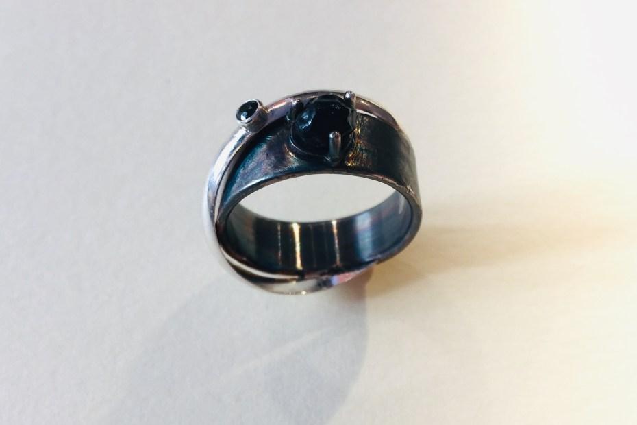 bague obsidienne & oxyde de zirconium