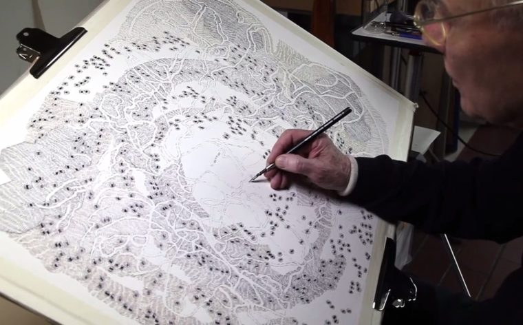Dieter Appelt Video about setting his drawings to music, Galerie Thomas Schulte, Berlin 2019
