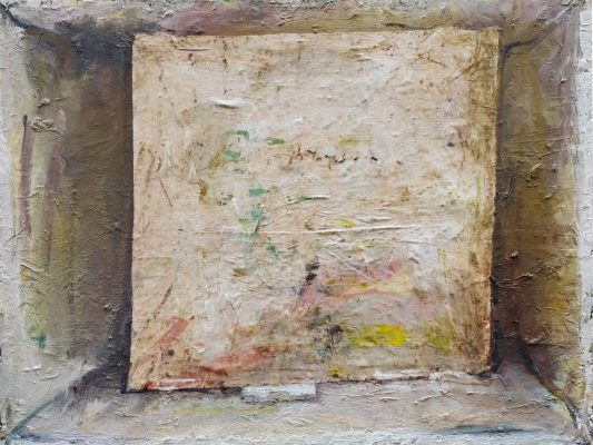 """Marc RONET, """" Toile carrée blanche dans un lieu """", 2019/3. Huile et tissu sur toile. 89 cm x 116 cm."""