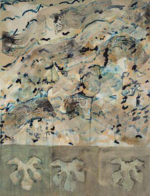 Monique TELLO, Un volcan lointain, 2019. Acrylique sur toile, 126 x 95 cm.