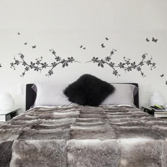 Stickers muraux Sticker tte de lit printanire  Dcoration de chambre  coucher