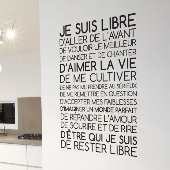 Sticker Texte Je suis Libre  Dcoration murale Citation positive  GALIARTcom