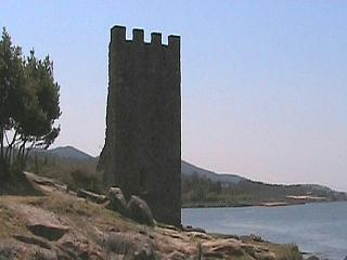 The ruins of a tower at Catoira, Galicia