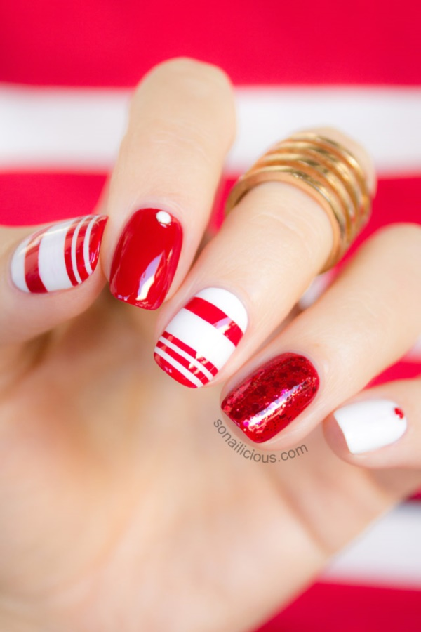 Glittering Red And White Nail Art Long Attractive Design