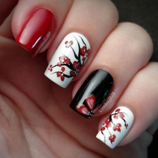 Super Black Nail Art Cannibal Red And Manicure