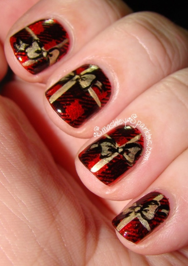 Simple Red Nail Art Design For S With Black V Sign