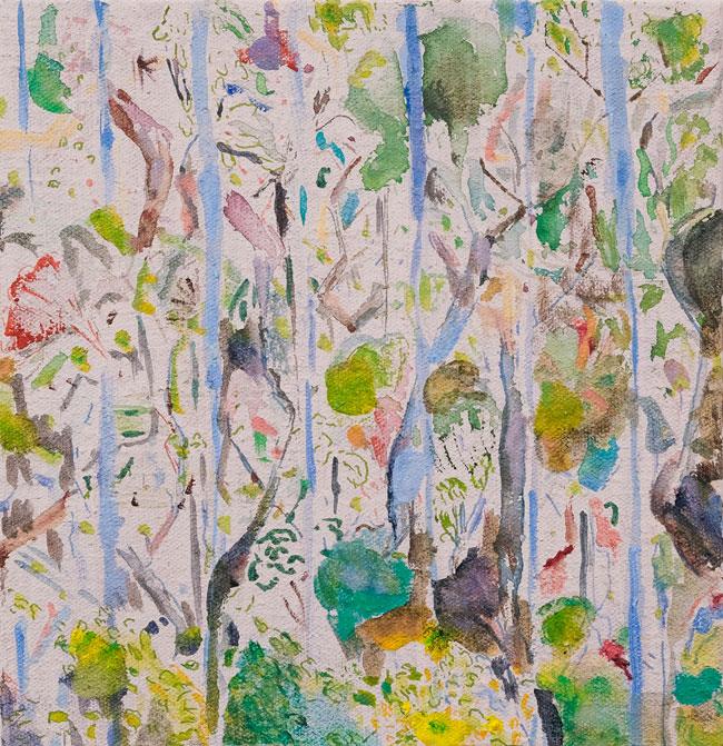 Metsäunelmia /Forest dreams, 2018, 40x40, vesiväri, tussi ja öljyväri kankaalle