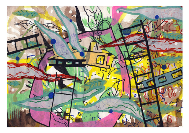 Jungle occupation / Forest sleep    Mixed media on paper 21 x 29,5 cm. Trine Pedersen & Tero Kontinen 2008-2009