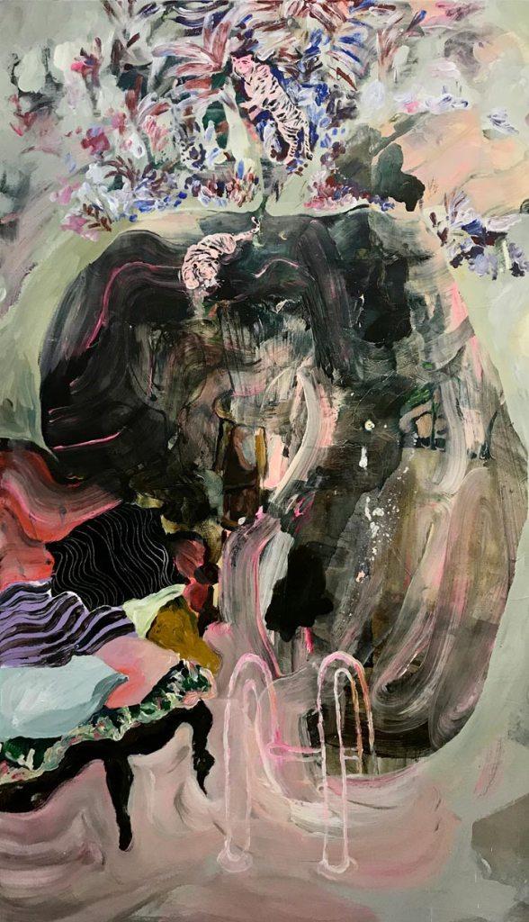 Juliana Hyrri: Tiikerit trooppisessa myrskyssä, akryyli kankaalle, 160x95cm, 2019