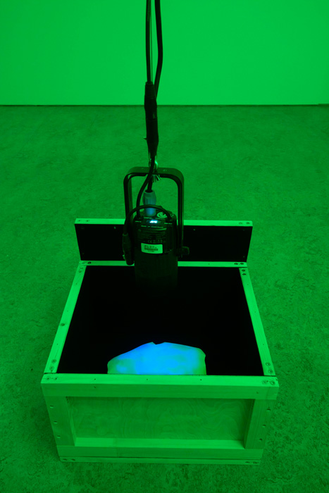 Michal Czinege: Dreamer 2, water-based matt paint on gesso on aluminium sheet, wooden box, programmed led light, 24x20x9 cm (wooden box 30x40x45 cm), 2021