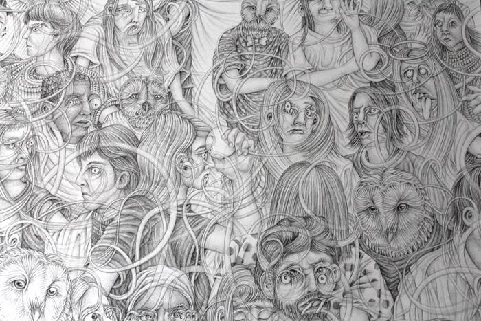 Eeva Honkanen: Yksityiskohta teoksesta God, tussipiirros, 140cm x 140cm, 2020