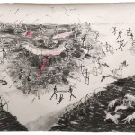 Jussi Pyky: Sticks and Stones, 2019, hiili ja kuivapastelli paperille
