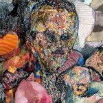 Mikko Kallio, Ystävien elämäntilanteet (yksityiskohta), 2018, tussi, vesiväri, lyijykynä ja kollaasi paperille, 56x71 cm
