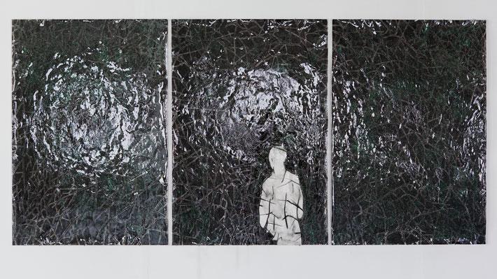 Mood I, sekatekniikka akryylilevylle, 104x216cm