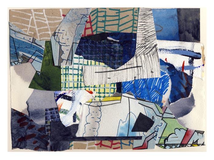 """Tero Kontinen: """"Hidasta liikettä"""", 32,5 x 24 cm, akryyliväri, akryylimuste ja akryylimarker paperilla, 2018"""