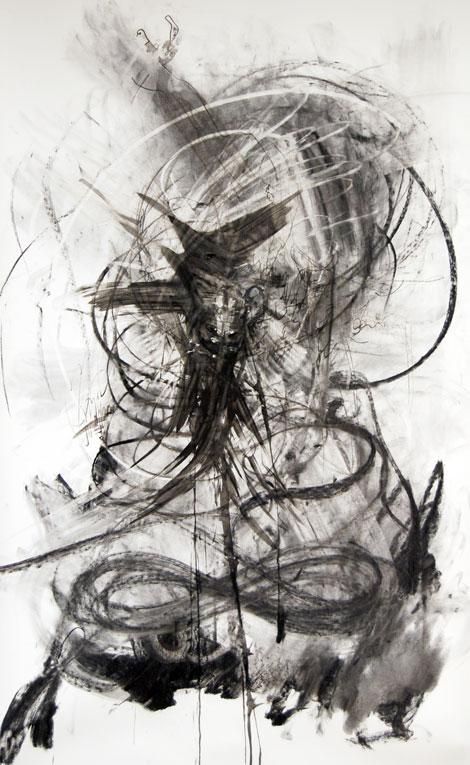 Belsepub, 2017, muste, hiili paperille 150 x 95cm