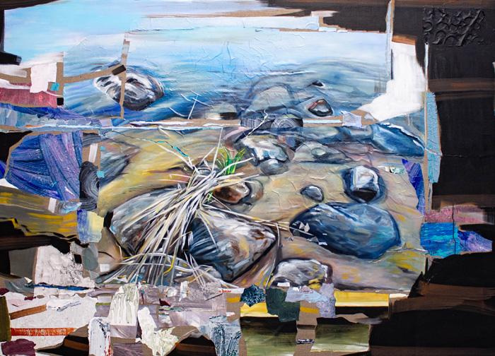 Kaisa Huotari: Inorganic Memory, 2020, Öljyväri ja akryylikollaasi pellavalle, 180x130cm