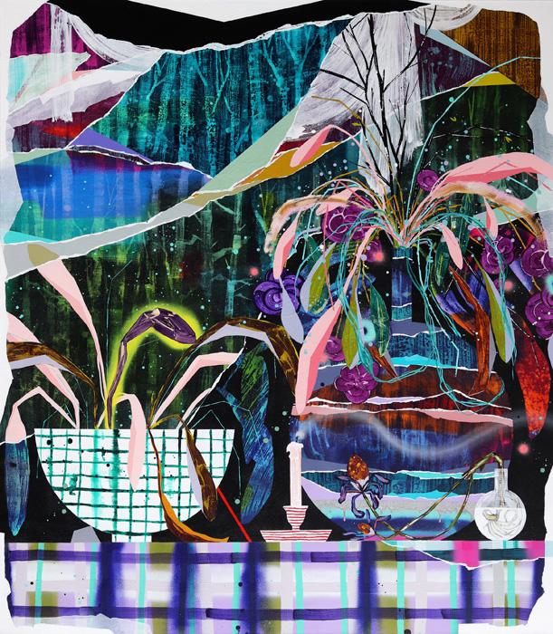 Milla Kuisma: Muuttuva asetelma, 2021, öljy ja akryyli kankaalle, 160 x 140 cm