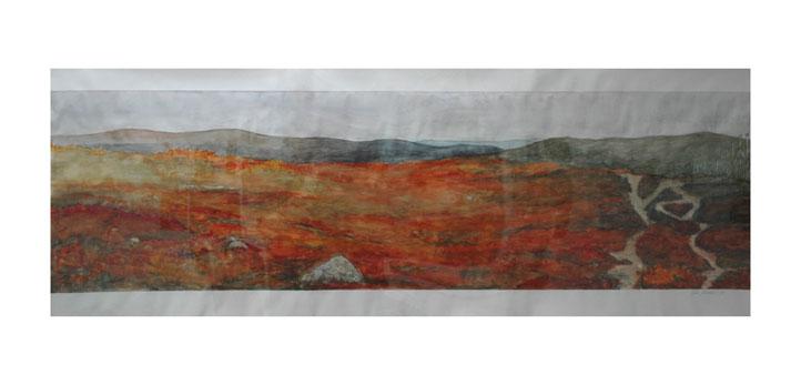Salla Järvinen: Kaksi matkaa. Toinen matka: Lapin tuntureilla. Akvarellilyijykynä, guassi ja akvarelli paperille 2008.