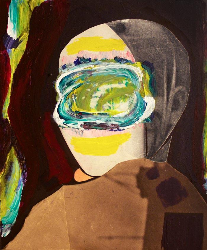 Sampo Laaksonen: Children of the Sea I, 2018, akryyli ja kollaasi mdf-levylle, 17 x 20,5 cm