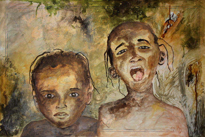 LAPSEN KATSE (CHILDS EYES), akvarelli, muste, värikynä ja hiili merikartalle (watercolor, ink, color pencil and charcoal on marine chart), 61 x 91cm, 2016