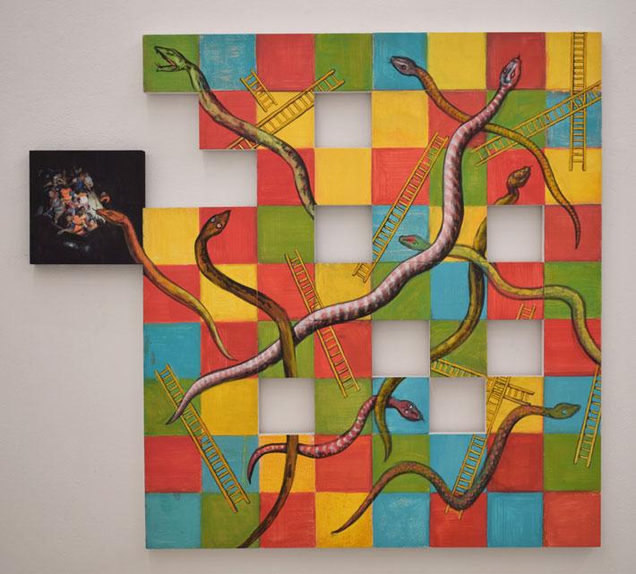 Daniel Wiesenfeld: Snakes and Ladders 1, gouache on panels, 100 x 90 cm, 2016