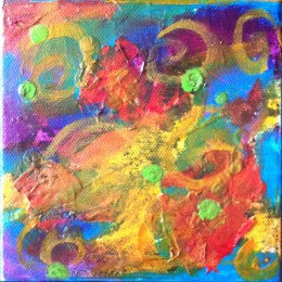 It's In Here - Acrylic & Mixed Media 5 x 5 inches