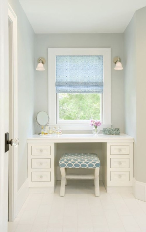 A place to pamper, built in vanity. Gallerie B blog.