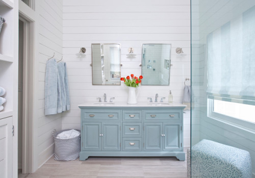 Coastal blue bathroom with shiplap walls. Friday's Favourites, Gallerie B blog
