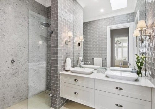 Hamptons style ensuite with grey subway tiles. Friday's Favourites