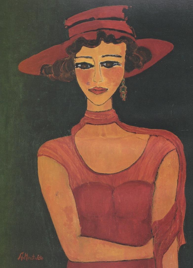 Donna con cappello a falde larghe, cm,50x70-2005